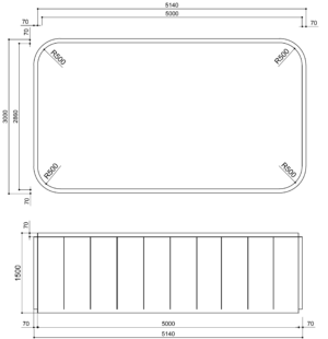 Чаша Бассейна Из Полипропилена прямоугольная 5м х 2.86м х 1.5м