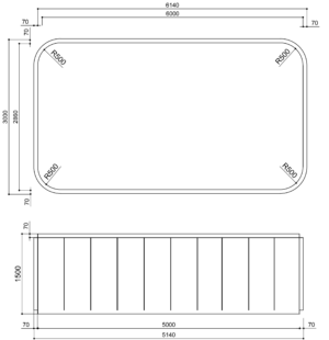 Чаша Бассейна Из Полипропилена прямоугольная 6м х 2.86м х 1.5м