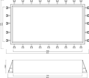 Панельный бассейн переливной 7*3.5*1.5