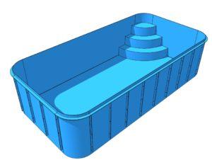 Чаша Бассейна Из Полипропилена с римской лестницей 6.5*2.9*1.5 м